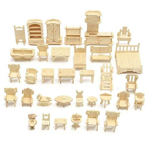 Exquisites Hausmodell DIY Mini 34pcs / Set Kind-pädagogisches Puppenhaus Zubehör Möbel 3D Woodcraft Puzzle Model Kit handgemachte Spielwaren-Geschenk DIY Puppenhaus (Color : Wood, Size : One Size)