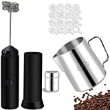 Milk Frother Set,Electric Coffee Whisk with 350ml Stainless Steel Milk Frothing Jug for Cappuccino,Mini Handheld Foam Maker Mixer for Latte, Frappe, Matcha, Hot Chocolate,Includes 16 Stencils