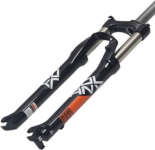 ZHTY Horquilla de suspensión de Bicicleta MTB 26/27,5/29 Pulgadas Horquilla de Bicicleta Recta 1-1/8'Freno de Disco Rueda QR Horquilla de suspensión de Control Manual