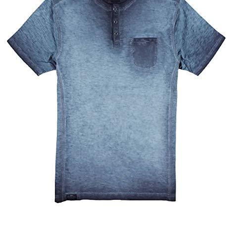 engbers Herren Lässiges Henley T-Shirt in außergewöhnlicher Optik, 29873, Blau in Größe L