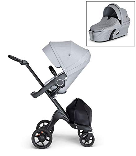 Discover Bargain Stokke Xplory V6 Grey Melange Stroller with Black Leatherette Handle, Black Chassis...