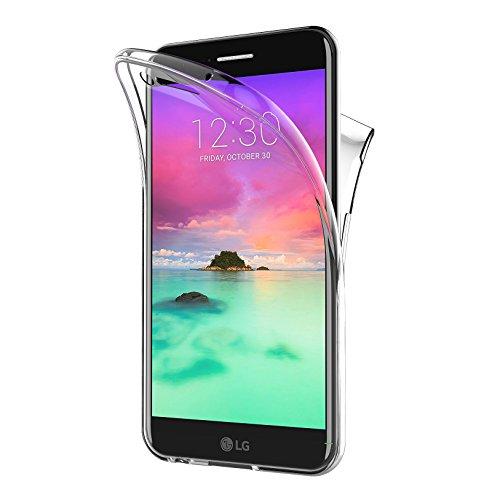 AICEK Cover LG K10 2017, 360°Full Body Cover LG K10 2017 Silicone Case Molle di TPU Trasparente Sottile Custodia per LG K10 2017 (5.3 Pollici)