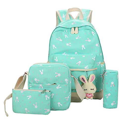 Juego de 4 mochilas escolares para adolescentes y niñas, con estampado de impresión, mochila para mujer, mochila para libros, verde (Verde) - RS190812