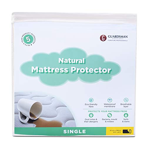 Guardsman Natural Waterproof Mattress Protector Single Bed Breatheable Lyocell Fiber 100% Organic Eco Friendly Anti Bacterial Bed Mattress Cover Protects from Spills and Stains (3 ft x 6ft 3)