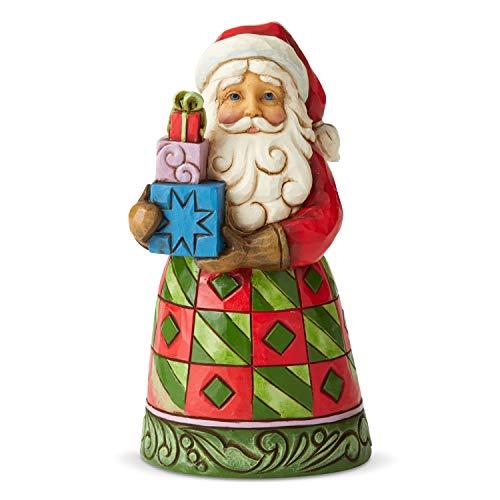 Jim Shore Heartwood Creek Minuscolo Babbo Natale con un Sacco di Regali, Resina, Multicolore, 13 cm