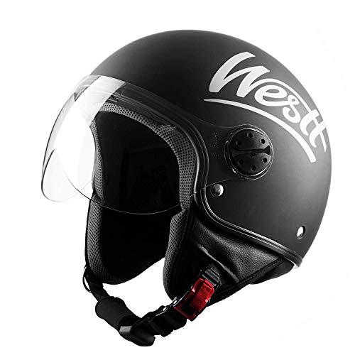 potente para casa Casco Westt Classic Open Jet para motocicleta, ligero y duradero, negro mate, certificado ECE