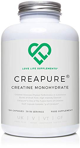 Creapure Creatine Monohydrate by LLS | 150 Capsules (1 Gram per Capsule) | 30-50 Servings | Love Life Supplements - 'Clean, Effective, High Quality'