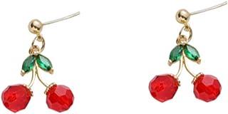 XCFS 18K Gold Plated Fruit Earring 3D Green Crystal Leaf Red Cherry Charm Tassel Drop Stud Earrings For Women Girls