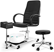 Artist hand Pedicure Unit with Foot Massage Basin, 360 Swivel Hydraulic Pedicure Chair with Adjustable Rolling Stool and Foot Support, Pedicure Station for Beauty, Spa, Salon, Home, Black