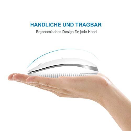 Jelly Comb Bluetooth Kabellose Maus, Dual Mode(2,4 G+Bluetooth) Kabellose Maus, 3 DPI, stille Optische Maus für Laptop/PC/MacBook Pro/Tablet/iPad, Weiß+Silber