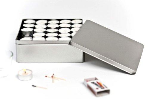 Caja de metal cuadrada con tapa, 19,5 x 19,5 x 7 cm, rectangular, vacía, plata mate, caja de almacenamiento, lata de almacenamiento, lata de almacenamiento universal