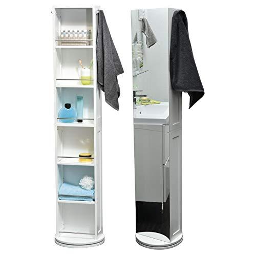 Columna de baño giratoria - 6 estantes + Espejo + 2 colgadores - Color blanco