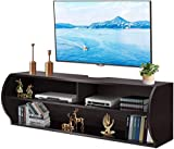 Tangkula Wall Mounted Media Console, Floating TV Stand Cabinet, 2 Tier Modern Wall Mount TV Component Shelf for Home Living Room Office, Wall Mounted Audio/Video Shelf (Coffee)