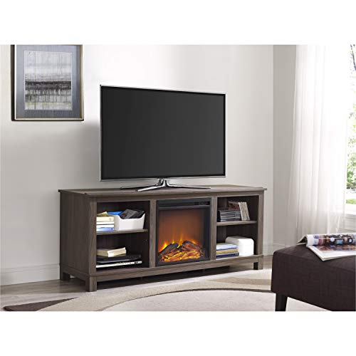 Ameriwood Home Edgewood TV Console with Fireplace for TVs up to 60', Weathered Oak