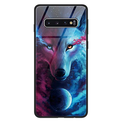 Eouine for Samsung Galaxy S10 4G Case, [Anti-Scratch] Shockproof Patterned Tempered Glass Back Cover Case with Soft Silicone Bumper for Samsung Galaxy S10 4G Smartphone (Wolf)