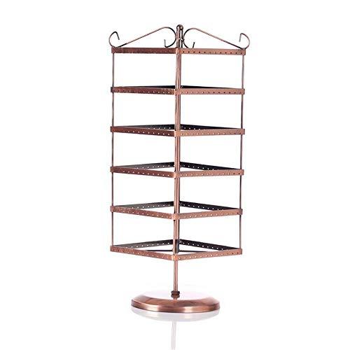 YZjk 6 Ebenen Schwarz 288 Löcher Ohrringhalter ~ Halskette Organizer Stand ~ Schmuckständer Display Rack Türme (Farbe: Bronze, Größe: 53x15cm)