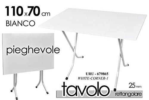 Giardicasa Tavolo TAVOLINO Rettangolare Pieghevole Piano Resina Bianco Struttura URU-679865