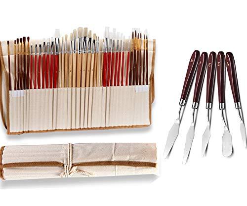 Pincéis AOOK para pintura, conjunto de pincéis de ponta redonda para pintura de aquarela a tinta óleo e acrílica, 1 conjunto com 43 peças
