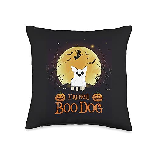 Halloween Wiccan Magic Crew Bulldog Halloween French Boo Dog Gift Throw Pillow, 16x16, Multicolor