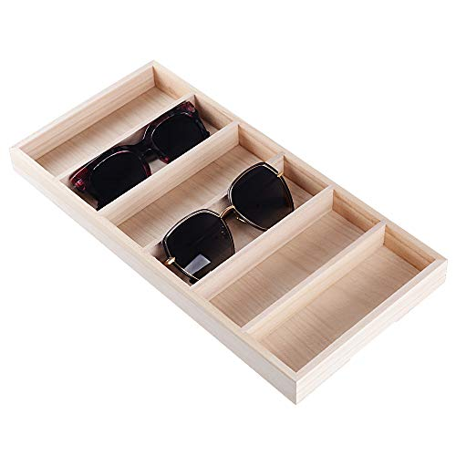 BUONDAC Organizador para Gafas de Sol Bandeja Caja Estuche de Madera Almacenamiento Expositor de Gafas con 6 Compartimentos