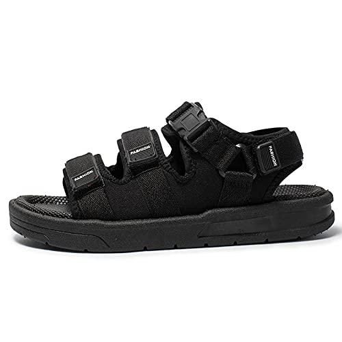 SLAYY Hombres Confort Diapositivas, Hebilla Sandalias Planas Ajustables, Zapatillas De Verano Casuales, Zapatos De Moda 41