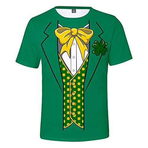 Unisex St. Patrick es Day T-Shirt Irish Costume Short Sleeve Tee for Luck Irish Young Men,D,M