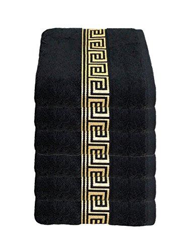 Julie julsen Lot de 6 serviette 50 x 100 cm Disponible en 23 Couleurs doux et absorbant 500 gsm certifié Öko-Tex, Coton, noir/or, 50 cm x 100 cm