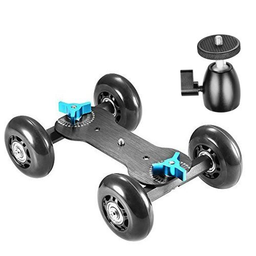 Neewer Table Mobile Rolling Slider Dolly Car Skater Video Track Rail Stabilizer and 1/4-inch Screw Mini Ball Head with Load Capacity 10 kilograms/22 pounds for DSLR Cameras and Video Camcorders(Black)
