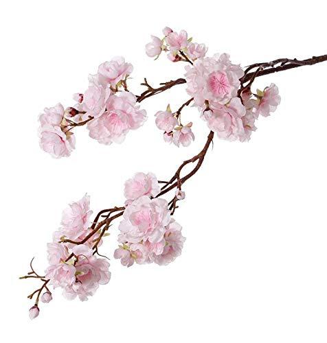 artplants.de Set 6 x Kunstzweig Japanische Zierkirsche Rukia mit Blüten, rosa, 90cm