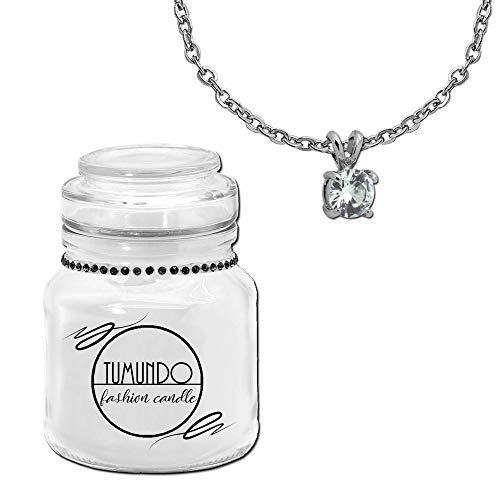 tumundo Fashion Candle Schmuck Kerze Weiß + Halskette und Anhänger Strass Kristall Zirconia Stern Kugel Schmuckkerze, Variante:Variante 4