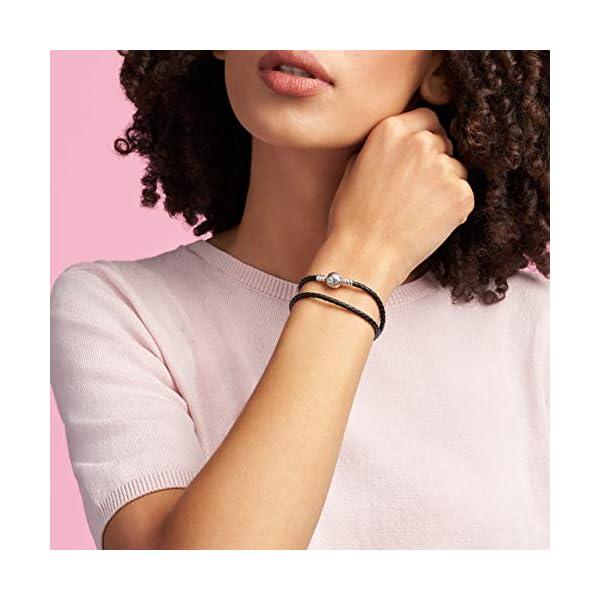 PANDORA Jewelry Black Leather Charm Sterling Silver Bracelet 3
