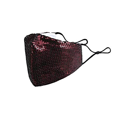 Washable Face Mask for women with Adjustable Ear Loops & Nose Wire - 3 Layers Cotton Inner Layer - Cloth Reusable Face Protection with Filter Pocket (Agate Red)(1Pcs)…