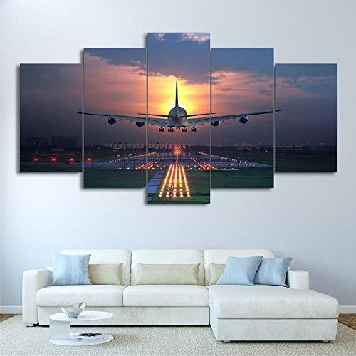KAIASH 5 Piezas impresión Moderno Cuadro Aeropuerto de césped de avión al Atardecer de Pared diseño artísticos para Interiores