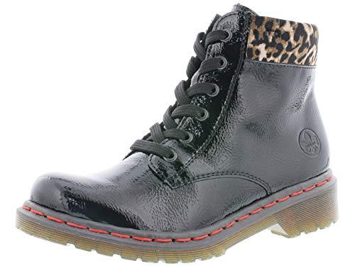 Rieker Damen Stiefel Y8212, Frauen Winterstiefel, Freizeit leger Winter-Boots schnürstiefel gefüttert warm Lady,Black/Leo-Ginger,40 EU / 6.5 UK