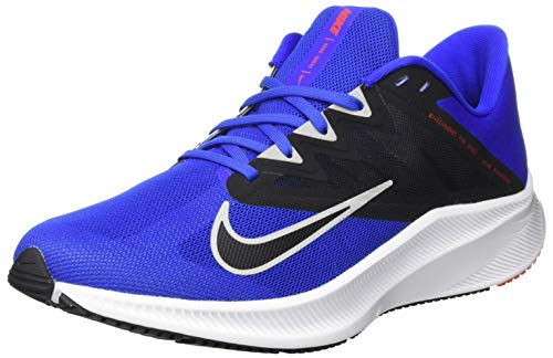 Nike Quest 3, Running Shoe Hombre, Racer Blue/Light Smoke Grey-Black-Chile Red, 44 EU