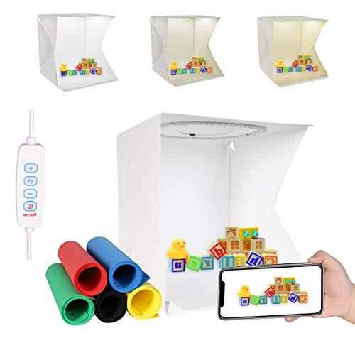 QYXINC Photo Studio Light Box,Ring Light Box with 128 LED,Portable Folding Photo Studio Box with...
