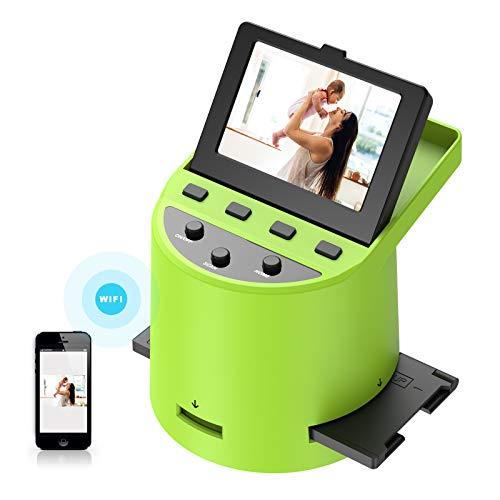 Hochauflösender 22MP Diascanner,Konvertiert Super 8Filme,35mm-Dias und Negative,110 und 126 Film zu Digital Photo,hochklappbares 3,5-Zoll-LCD, Übertragung von Bildern auf Telefone über WLAN Verbindung