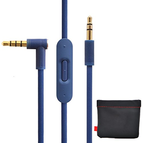 New Version Original Replacement Audio Cable Cord Wire with In-line Microphone and Control + Original OEM Replacement Leather Pouch/Leather Bag for Beats by Dr Dre Headphones Solo/Studio/Pro/Detox/Wireless/Mixr/Executive/Pill (Blue)