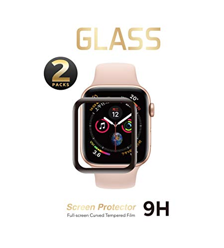 2 Pack - Liquid Tempered Glass Screen Protector Compatible for Apple Watch Full Coverage Protective Foil 9H 2.5D (44mm)