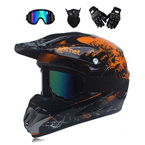 MRDEER Motocross Helm, Adult Off Road Helm mit Handschuhe Maske Brille, Unisex Motorradhelm Cross Helme Schutzhelm ATV Helm für Männer Damen Sicherheit Schutz, 5 Stile Verfügbar,D,L