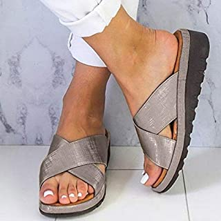 Women Ladies Casual Soft Open Toe Foot Correction Slippers Leather Shoes Wedge Comfy Platform Flat Slippers Beach slippers (Color : Bronze, Shoe Size : 36)