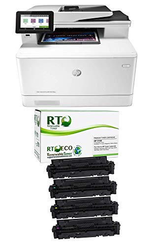 Renewable Toner Color Laserjet Pro M479fdw Check Printer Bundle with Compatible HP 414A W2020A W2021A W2022A W2023A (Cyan Magenta Yellow Black, 5 Items)