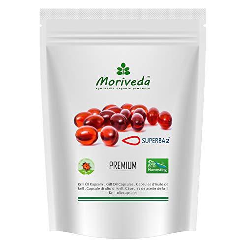 MoriVeda® - Capsules d'huile Superba Krill (différentes tailles d'emballage) - huile de krill premium avec oméga 3,6,9, astaxanthine estérifiée, phospholipides, choline, vitamine E (1x60 Gélules)