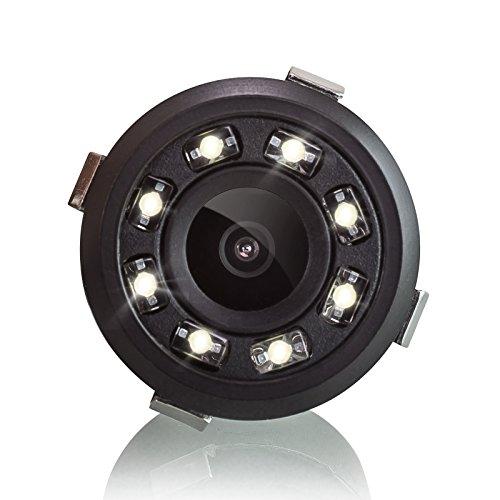 XOMAX XM-018 Universal Auto Rückfahrkamera Set mit 8 LED Leuchten für Gute Nachtsicht, Einparkhilfe mit farbigen Linien, 5m Kabel, Cinch Anschluss, PAL, Weitwinkel 170° Grad, 12V Betrieb