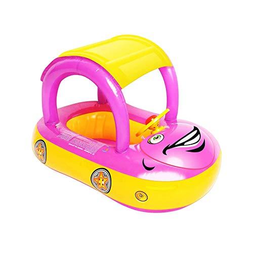 Ahageek Flotador Inflable para bebé de natación, Flotador en Forma de Coche de Piscina con Volante y Capota Solar SPF50 + para niños Menores de 5 años