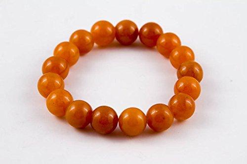 LOVEKUSH Venta al por mayor 12 mm pulsera de ágata naranja elástica, redonda, lisa 7 pulgadas para hombres, mujeres, gf, bf y adultos.