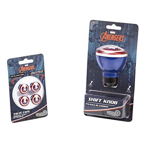 Pilot Automotive Universal Marvel Captain America Car Shift Knob and Valve Cap Accessories Combo Kit   Collectible Official Merchandise