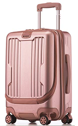 GURHODVO Front Pocket Luggage for Business - Lightweight Caryy on Rolling Laptop Suitcase 20 inch Multifunction Fashion (Pink, 20in(Carry on))