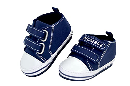 Zapatillas de bebe personalizadas con nombre - Zapatos bebé de lona estilo casual - Regalo bebe personalizado - Zapatos de 0 a 6 Meses (07. AZUL CON NOMBRE, 18)