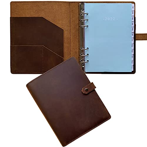 """2022 Weekly Planner - Genuine Leather Binder Planner for Men and Women, Inner Pockets and Pen Holder, Refillable, 7""""x9"""""""